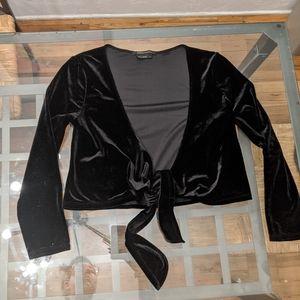 BCBG Max Azria velvet tie crop top in Black Velvet